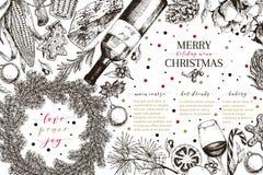 Christams-Menü Vektor skizzierte Weinleseartfahne Feiertag reataurnat Förderung Weihnachtsdekoration, Lebensmittel baumwolle stock abbildung