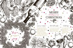 Christams menu. Vector sketched vintage style banner.Holiday reataurnat promotion. Xmas decoration, food. Cotton Stock Images