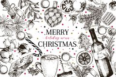 Christams menu. Vector sketched vintage style banner.Holiday reataurnat promotion. Xmas decoration, food. Cotton Stock Image