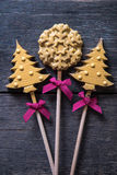 Christams tree and star chocolate candy Royalty Free Stock Photo