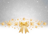 Christas background - golden bow and stars Stock Images