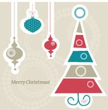 Christas card. Retro Christmas card,  illustration Stock Photos