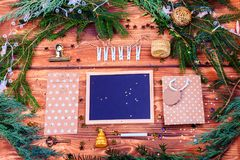 Christas decorations top view Royalty Free Stock Images
