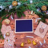 Christas decorations top view Stock Images
