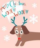 Christas mieszkania wektorowa karta z ślicznym szczeniakiem Nowego Roku wakacje Fotografia Stock