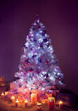 Christbaumkerzen, verzierter Weihnachtsbaum, Geschenk-Kerzen Stockbilder