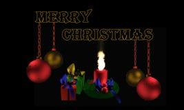 Christbaumkugeln mit tekst Frohe Weihnachten w Angielskim royalty ilustracja