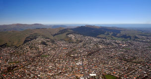 Christchurch Aerial View of Southern Suburbs. An aerial view of the southern  suburbs of Christchurch, New Zealand. Includes Sydenham and Addington in the Stock Photo