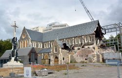 Christchurch Anglican Cathedral In Ruins, New Zealand stock photo