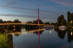 Christchurch Bridge, Reading Berkshire United Kingdom. Christchurch Bridge, Reading is a pedestrian and cycle bridge over the River Thames at Reading in the stock photography