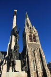 Christchurch Cathedral and Cenotaph. The Anglican cathedral in Christchurch city, New Zealand with the War memorial cenotaph in the foreground stock photo