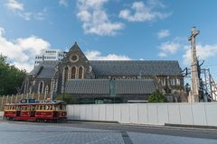 Christchurch Cathedral in Downtown of Christchurch, South Island of New Zealand stock photography
