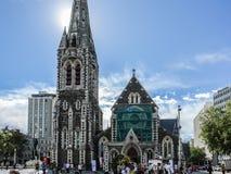 Christchurch domkyrka före jordskalvet, domkyrkafyrkant, Christchurch, Nya Zeeland Royaltyfria Bilder