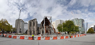 Christchurch Earthquake - Anglican Cathedral Ruins. Panoramic view of the ruins of Christchurch Cathedral after a devastating earthquake on 10 March 2012 Stock Photo