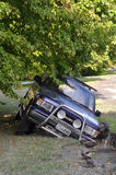 Christchurch Earthquake - Car Falls into Crack. 24 February 2011 - Christchurch, New Zealand Stock Photo