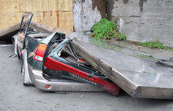 Christchurch Earthquake - Car Flattened by Wall Stock Photography