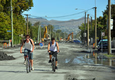 Christchurch Earthquake - Cyclists in Hills Road Stock Photography