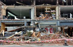 Christchurch Earthquake - Merivale Shops Destroyed Royalty Free Stock Image