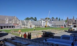 Christchurch Earthquake - New Building at Christs. 09 March 2011, Christchurch, New Zealand. New temporary buildings are already being erected on the Quadrangle royalty free stock images