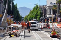 Free Christchurch Earthquake - New Tram Tracks Royalty Free Stock Image - 16998866