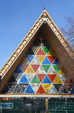 Christchurch Earthquake Rebuild - Cardboard Cathedral Stained Gl royalty free stock photos