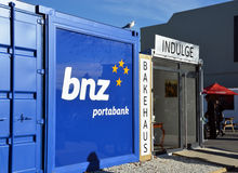 Christchurch Earthquake Rebuild - Portable Container Bank. Royalty Free Stock Photo
