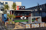 Christchurch Earthquake Rebuild - Red Fix Expresso Bar Opens on royalty free stock photography