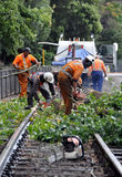 Christchurch Earthquake - Workers Clear Railway Stock Images