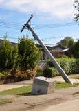 Christchurch-Erdbeben - Leistung-Pole-Einsturz Stockfotografie