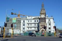 Christchurch jordskalvombyggnad - Diamond Jubilee Clock Tower. Arkivbilder