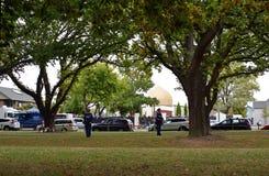 Christchurch moskémassaker - sikt av Al Noor Mosque Linwood Avenue royaltyfri foto