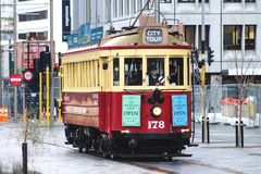 Restored Heritage Tram, one of Christchurch`s leading attractions for touring the city and viewing landmarks and local sights. Christchurch, New Zealand Royalty Free Stock Image