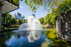 Christchurch New Zealand Ferrier Fountain. The Ferrier Fountain, Victoria Square, Christchurch, New Zealand, on a sunny summer day. Taken before the earthquakes royalty free stock photography
