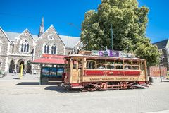 Christchurch, New Zealand - January 30 2018: Christchurch city center. Historic tram Royalty Free Stock Images