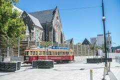 Christchurch, New Zealand - January 30 2018: Christchurch city center. Historic tram Royalty Free Stock Photography