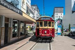 Christchurch, New Zealand - January 30 2018: historic tram in Christchurch. City center Royalty Free Stock Photo