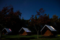 Christchurch, New Zealand - 29 March 2017: Lodge in home stay wi. Lodge in home stay with starry sky Stock Photos