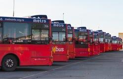 Metro bus depot in Christchurt, New Zealand stock photography
