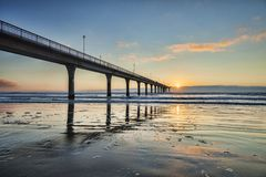 Christchurch Nouvelle-Zélande nouveau Brighton Pier Sunrise images stock
