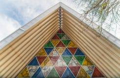 Christchurch, Nueva Zelanda - October-01-2017: El tejado de la arquitectura de la catedral de la cartulina en Christchurch, Nueva foto de archivo