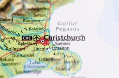 Christchurch op kaart royalty-vrije stock afbeelding