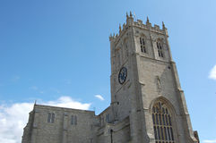 Christchurch Priory. Lovely sunny day with blue sky at Christchurch Priory, Dorset Royalty Free Stock Photo