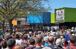 Christchurch-Rekonstruktion - zentraler Einzelverkauf öffnet sich Stockbilder