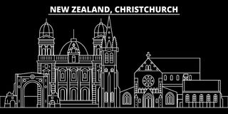 Christchurch silhouette skyline. New Zealand - Christchurch vector city, linear architecture. Christchurch travel stock illustration