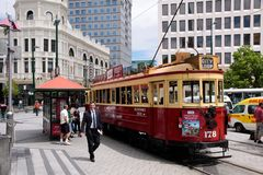 Christchurch Tram at the Cathedral Square Stock Photo