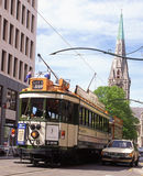 Christchurch tram. Tram leaves Cathedral Square, Christchurch, New Zealand, circa 1995 Royalty Free Stock Images