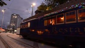 Christchurch Tramway tram restaurant New Zealand stock video
