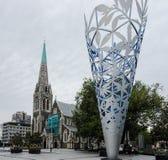 Christchurchkathedraal voorafgaand aan aardbeving, Kathedraalvierkant, Christchurch, Nieuw Zeeland Royalty-vrije Stock Afbeelding