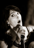 Christel Kern die chanson zingen Portret van Franse actrice scène stock foto