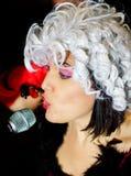 Christel Kern die chanson zingen Portret van Franse actrice scène stock afbeeldingen